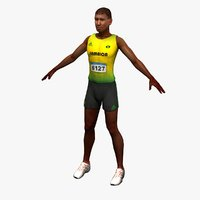 olympic track athlete 3d model