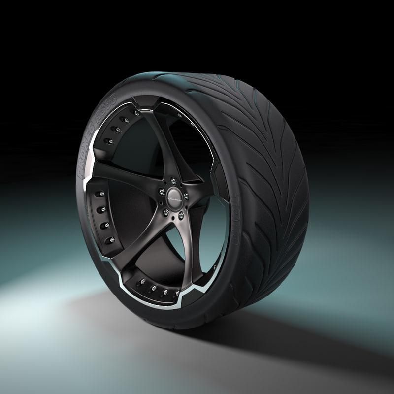 custom wheel tire giovanna 3d max