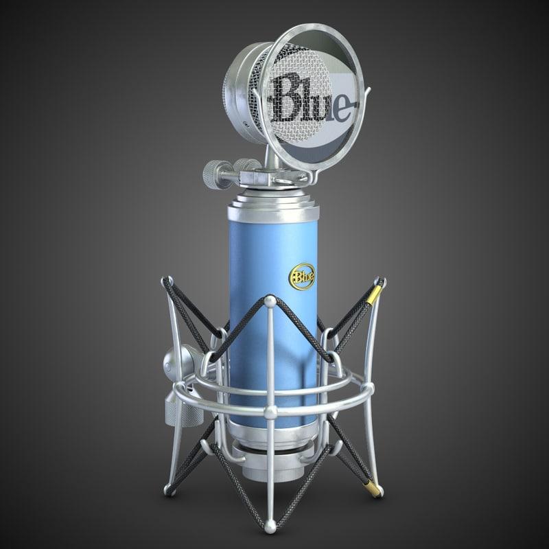 microphone blue bird 3d model