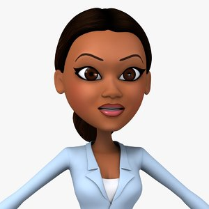 afro-american cartoon girl woman 3d model