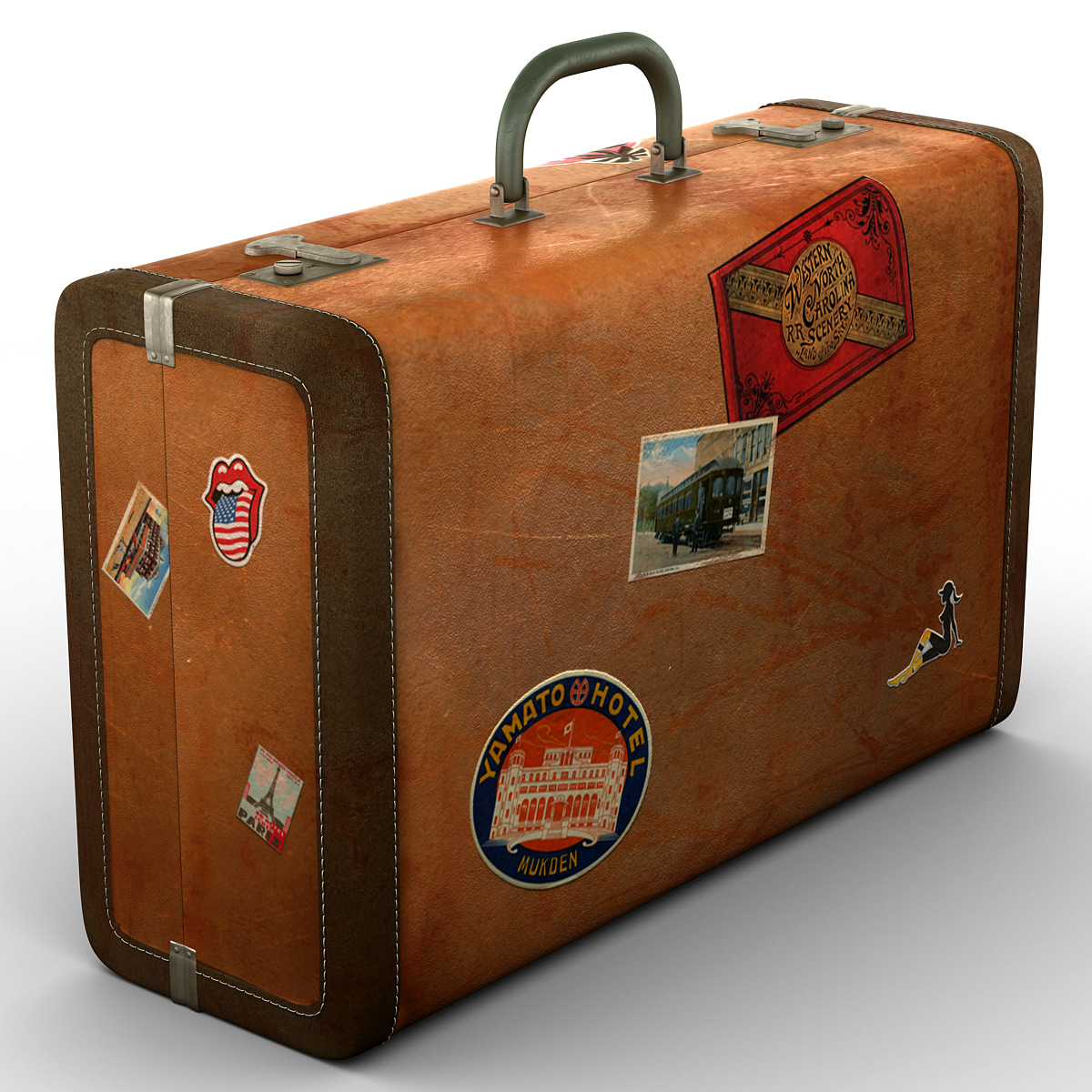 3d model of old suitcase - Vintage suitcase ...
