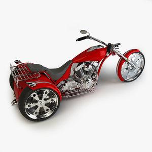 custom trike chopper 3d model