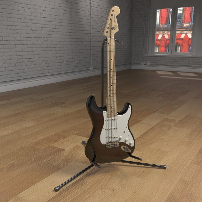 stratocaster guitar 3d model