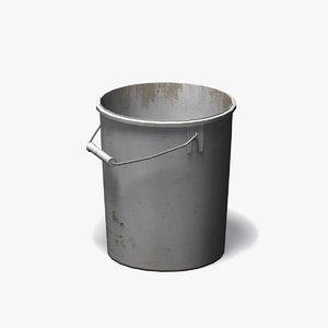 3d model white plastic bucket