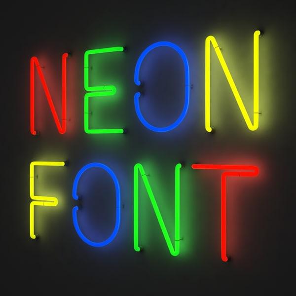3d model neon font