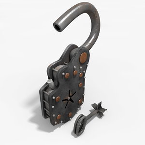 3d model old padlock