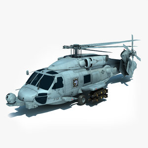 folded mh-60r military helicopter obj