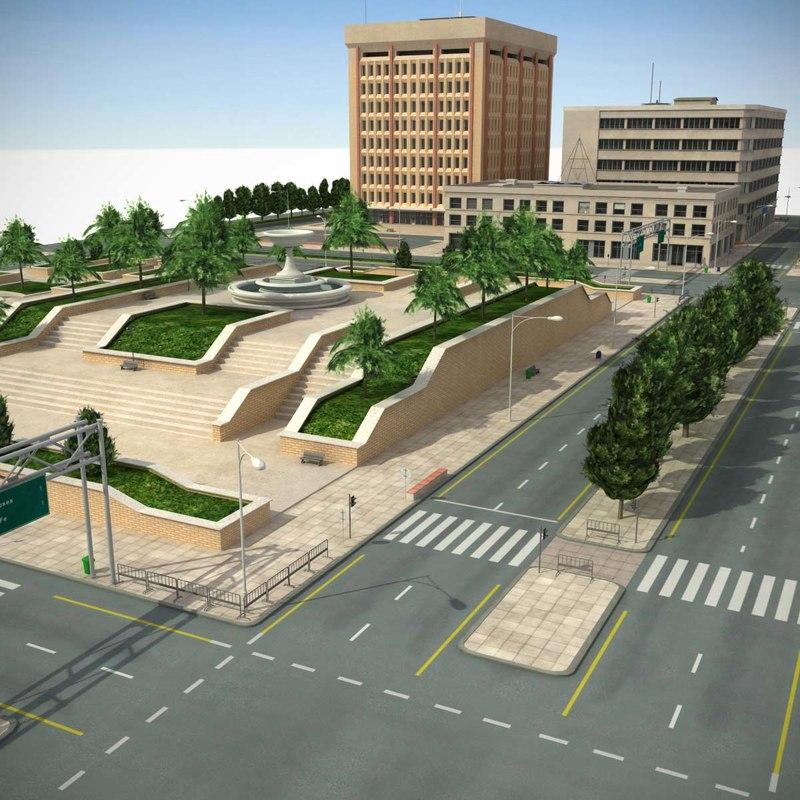 3d model city park blocks cityscape