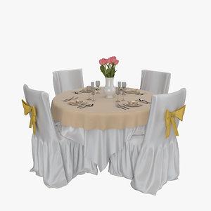 3d model restaurant table 01