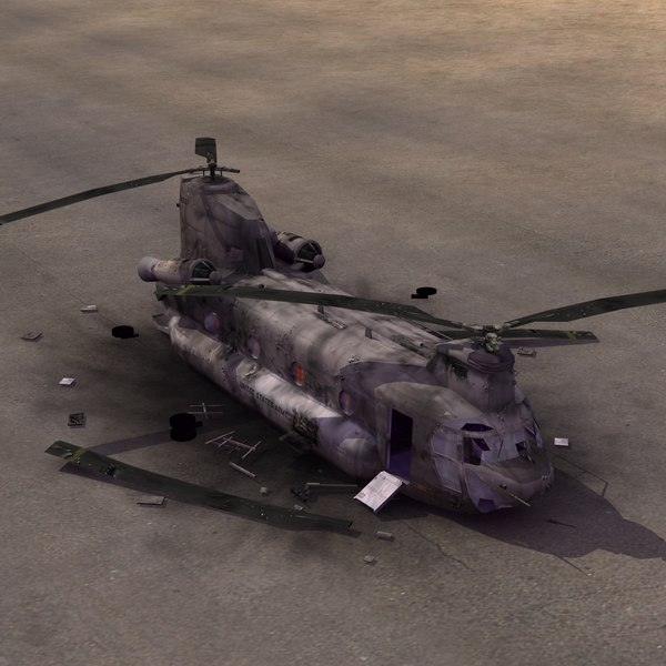 3d model wrecked chinook