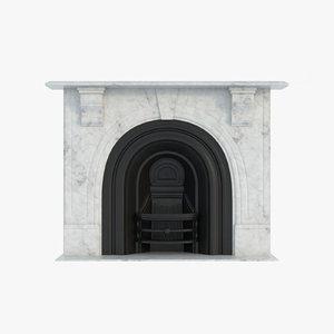 3d model classic fireplace