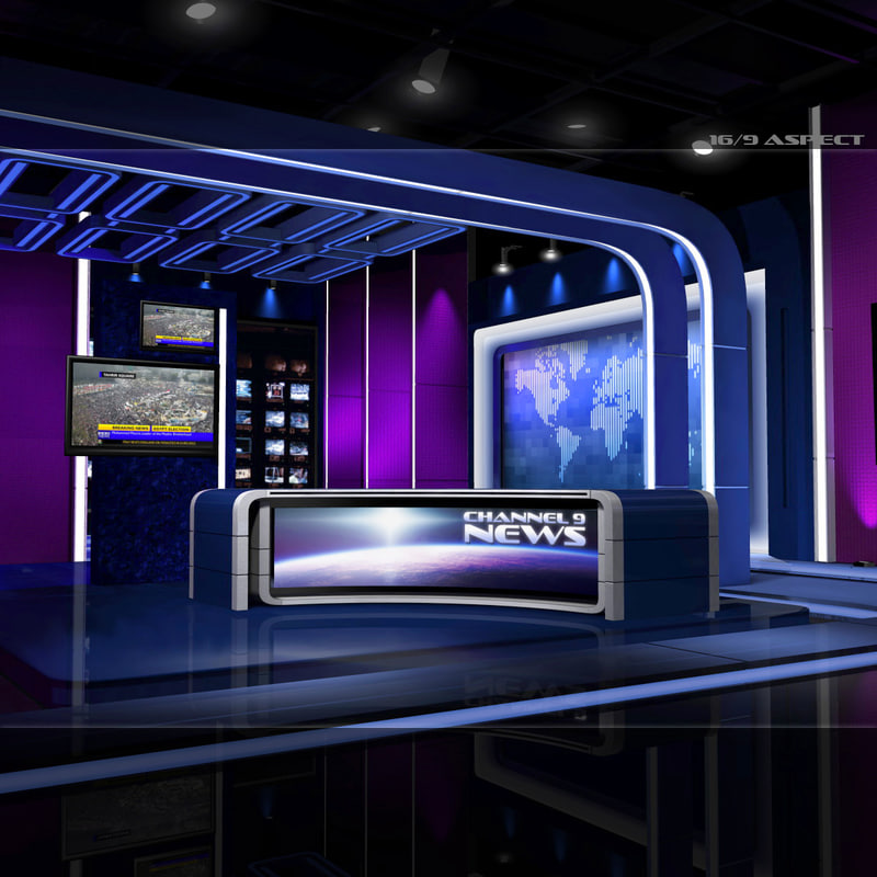 3d model european virtual set news studio