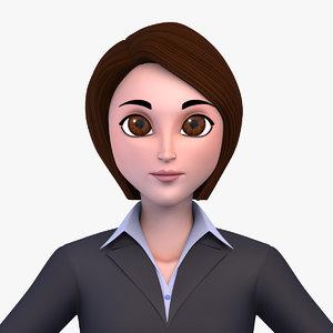 x corporate cartoon woman