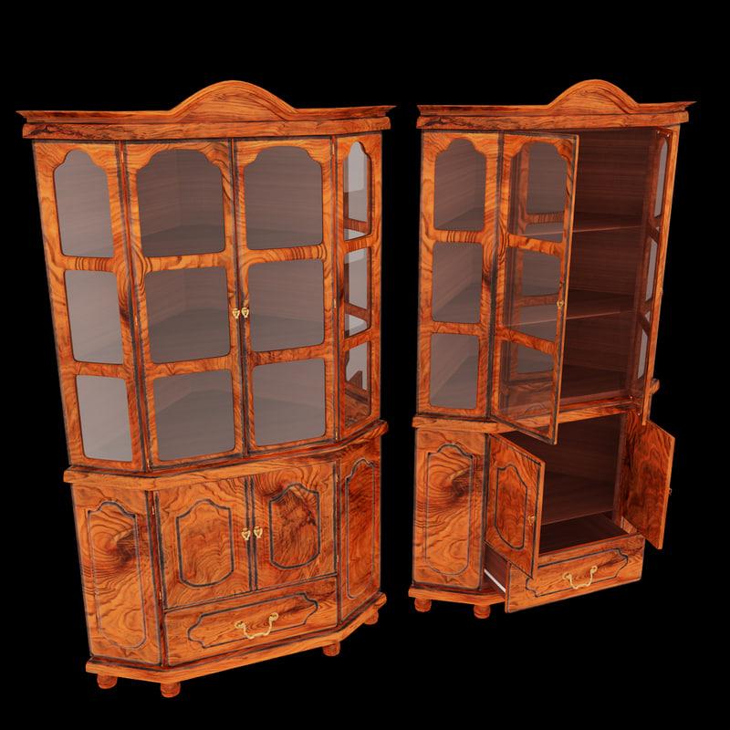 3ds max wooden corner cupboard