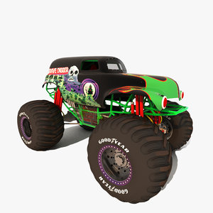 grave digger monster truck 3d model