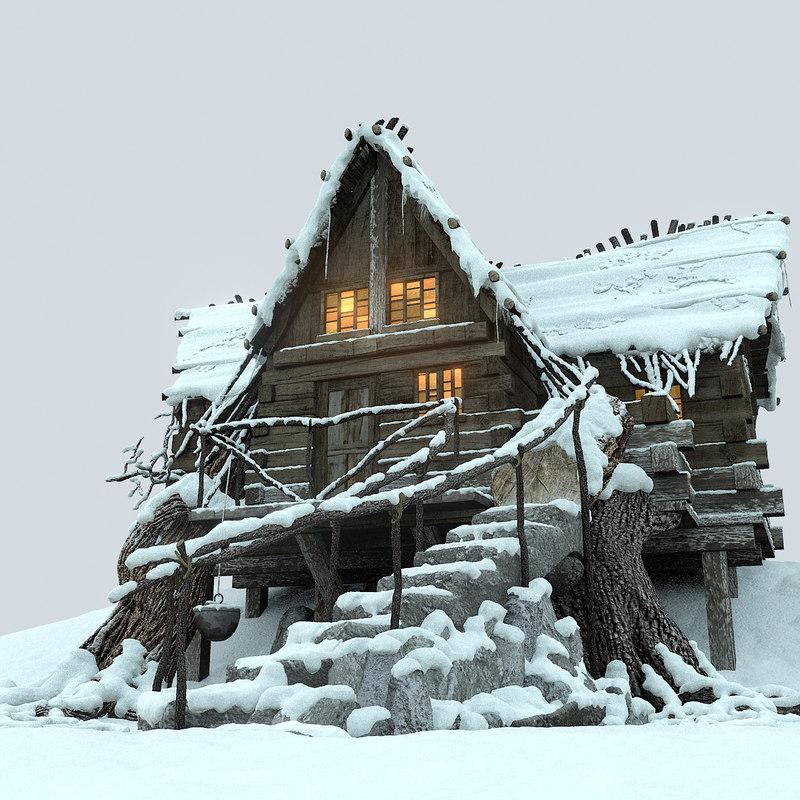 3d mountain hut snowy snow model