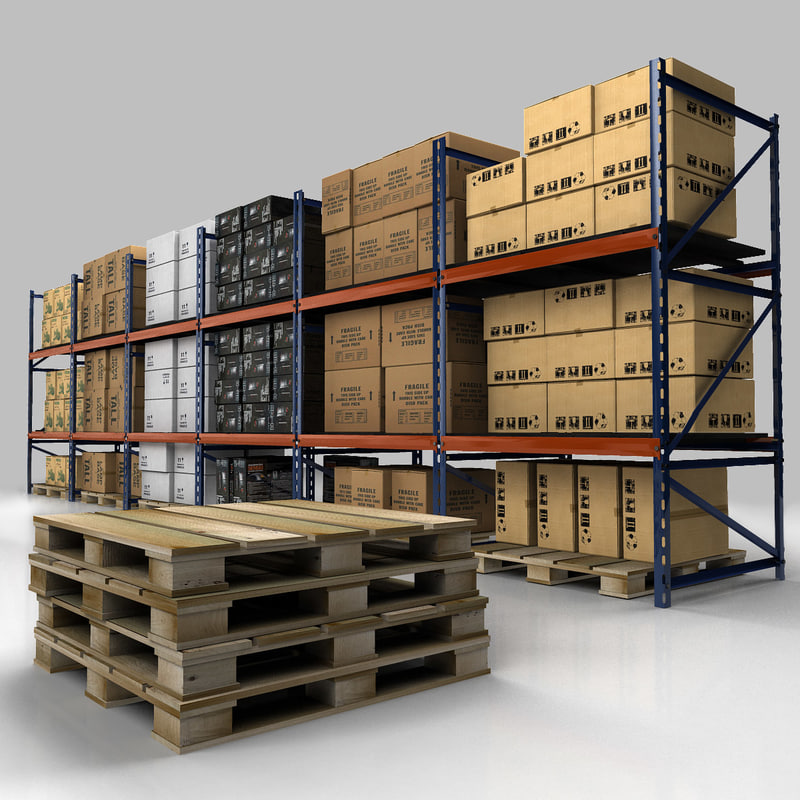warehouse rack set 3d model