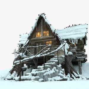 3d mountain hut snowy snow model