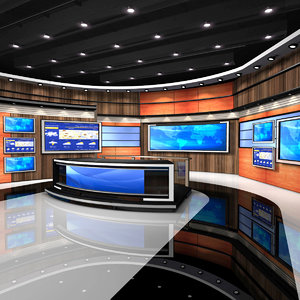 3d american news studio model