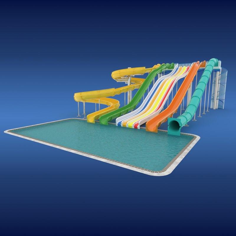 3ds waterslide slide