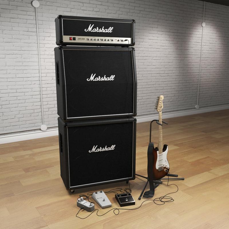 3d model electric guitar set