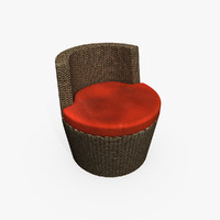 Round Rattan Chair (Red)