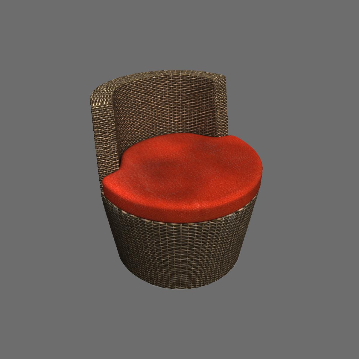 둥근 등나무 의자 빨강 모델