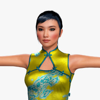 3d model of yue woman hair