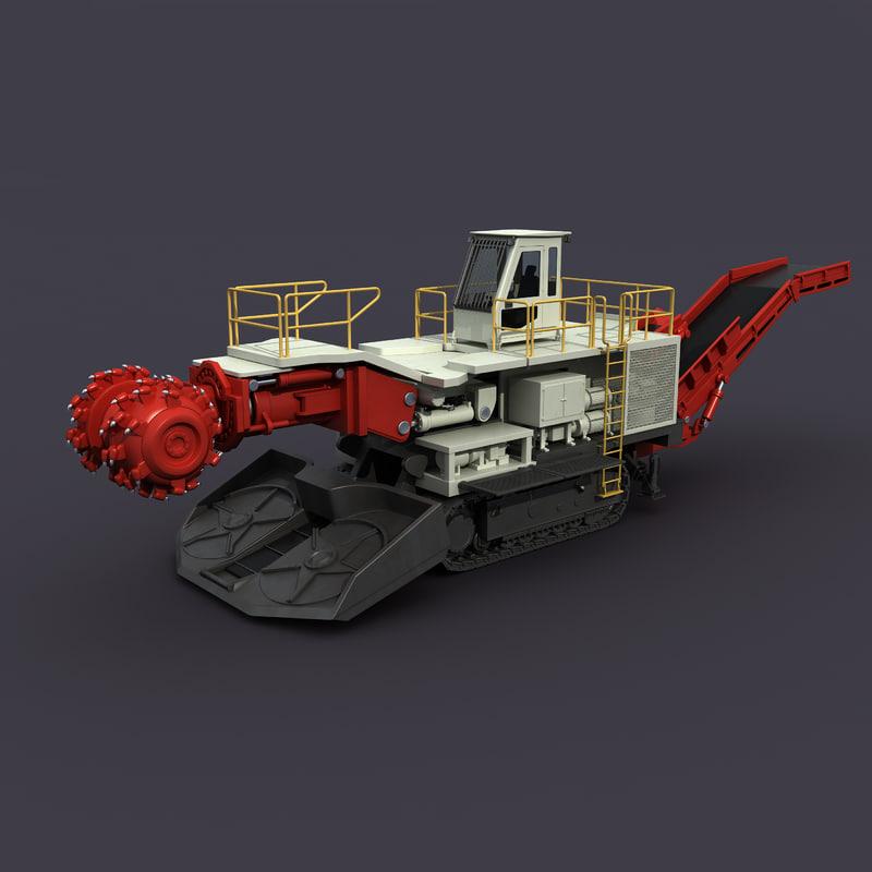 mining roadheader 3d max