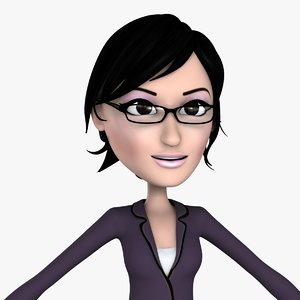 business woman cartoon girl character 3d max
