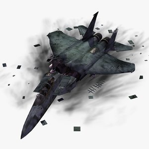 crashed f15e strike eagle 3d model