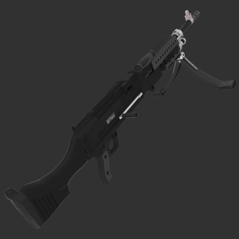 m240 machine gun 3d model