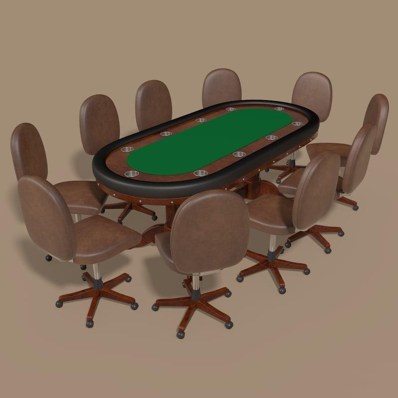 3d tournament poker table model