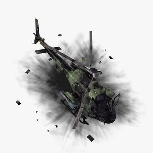 3d destroyed fennec helicopter