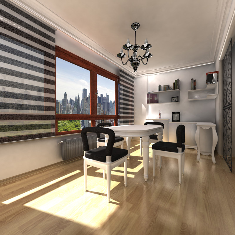 office room interior scene fbx