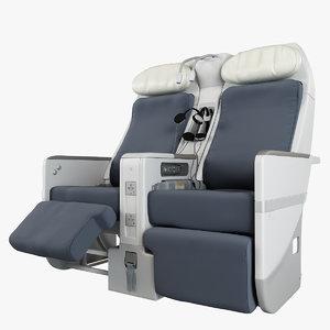 3d 3ds air france business-class seat