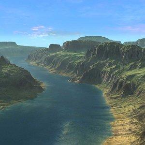 canyon river landscape terrain fbx
