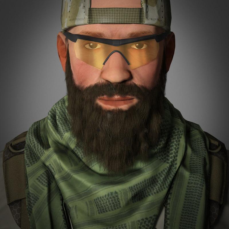 3d model soldier mercenary settings