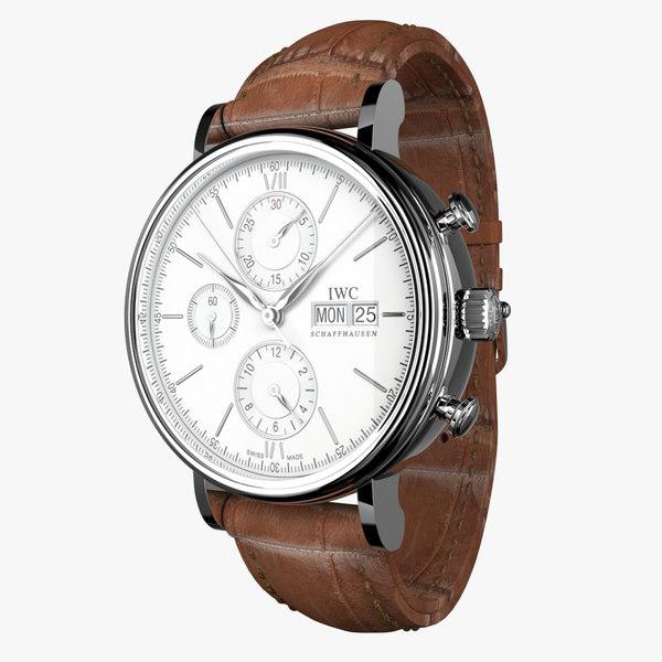 iwc portofino chronograph modeled 3d max