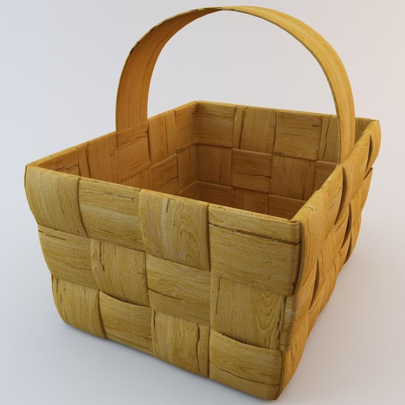 3d model wooden basket 2