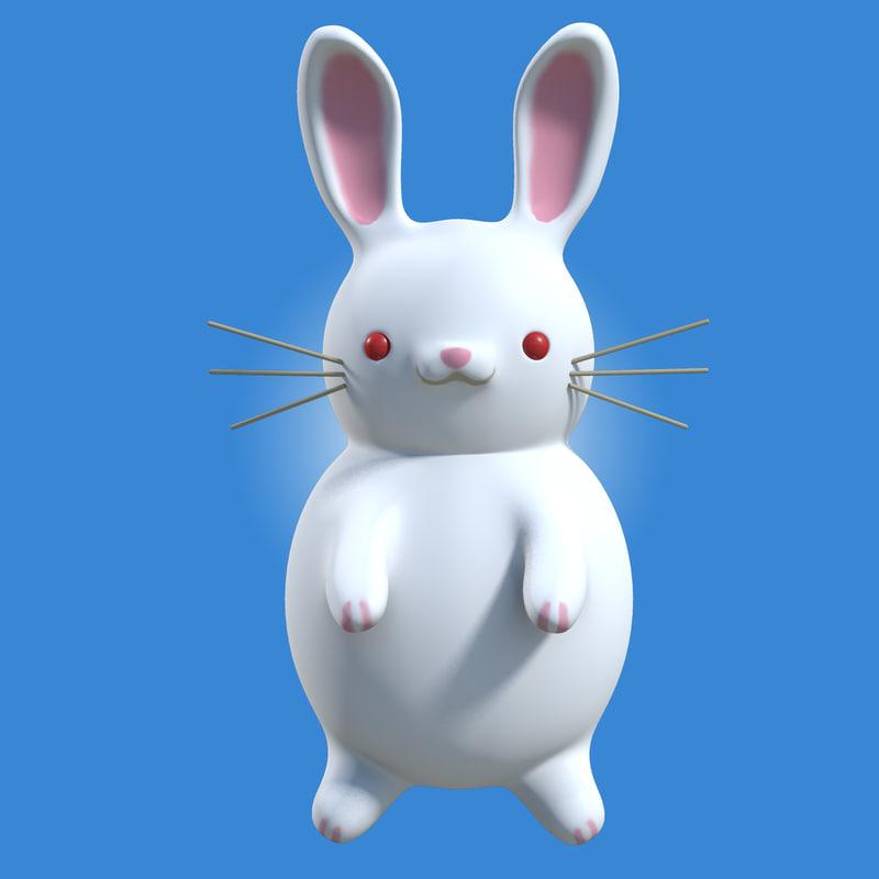3d model cartoon white rabbit