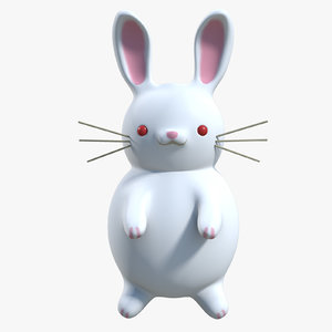 white rabbit cartoon rigged character obj