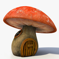 3d model cartoon mushroom house