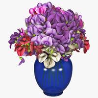 3d c4d bouquet flower modelled