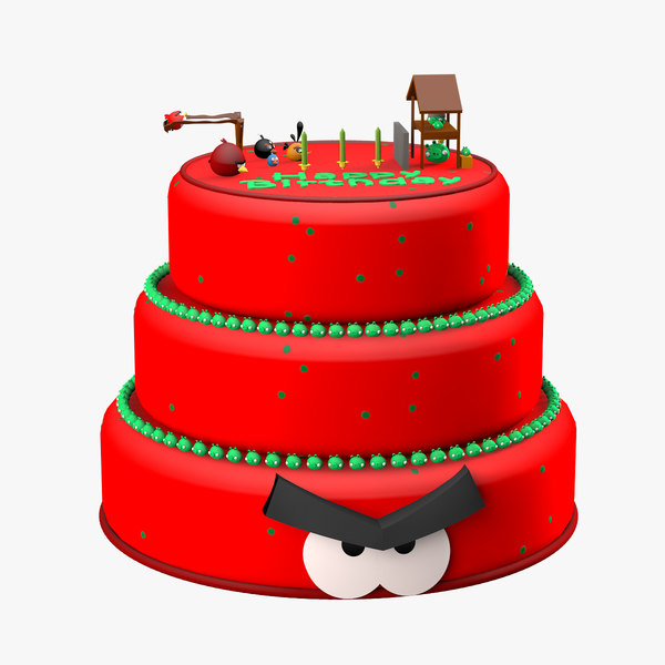 angry birds cake 3d c4d