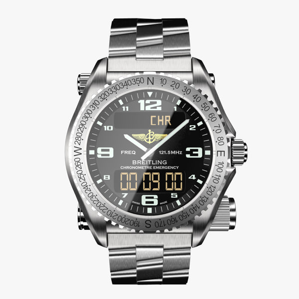 3ds max breitling emergency black-virtual modeled