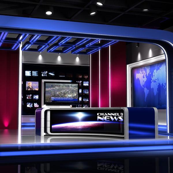 european news studio - 3d max