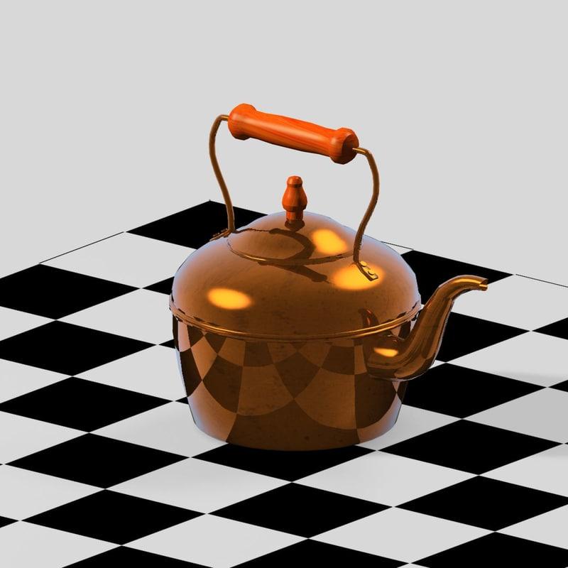 3d model copper kettle