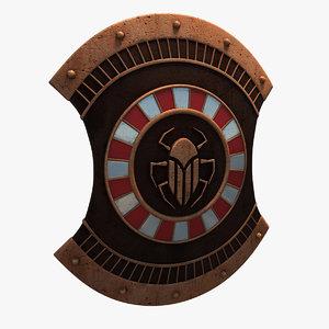 3d egyptian buckler shield