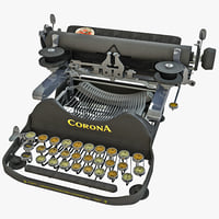 corona 1920 portable typewriter 3d model